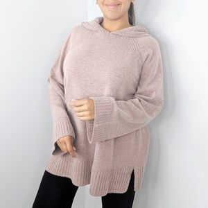 ANN TAYLOR Blush Pink Hooded Wool Sweater XL